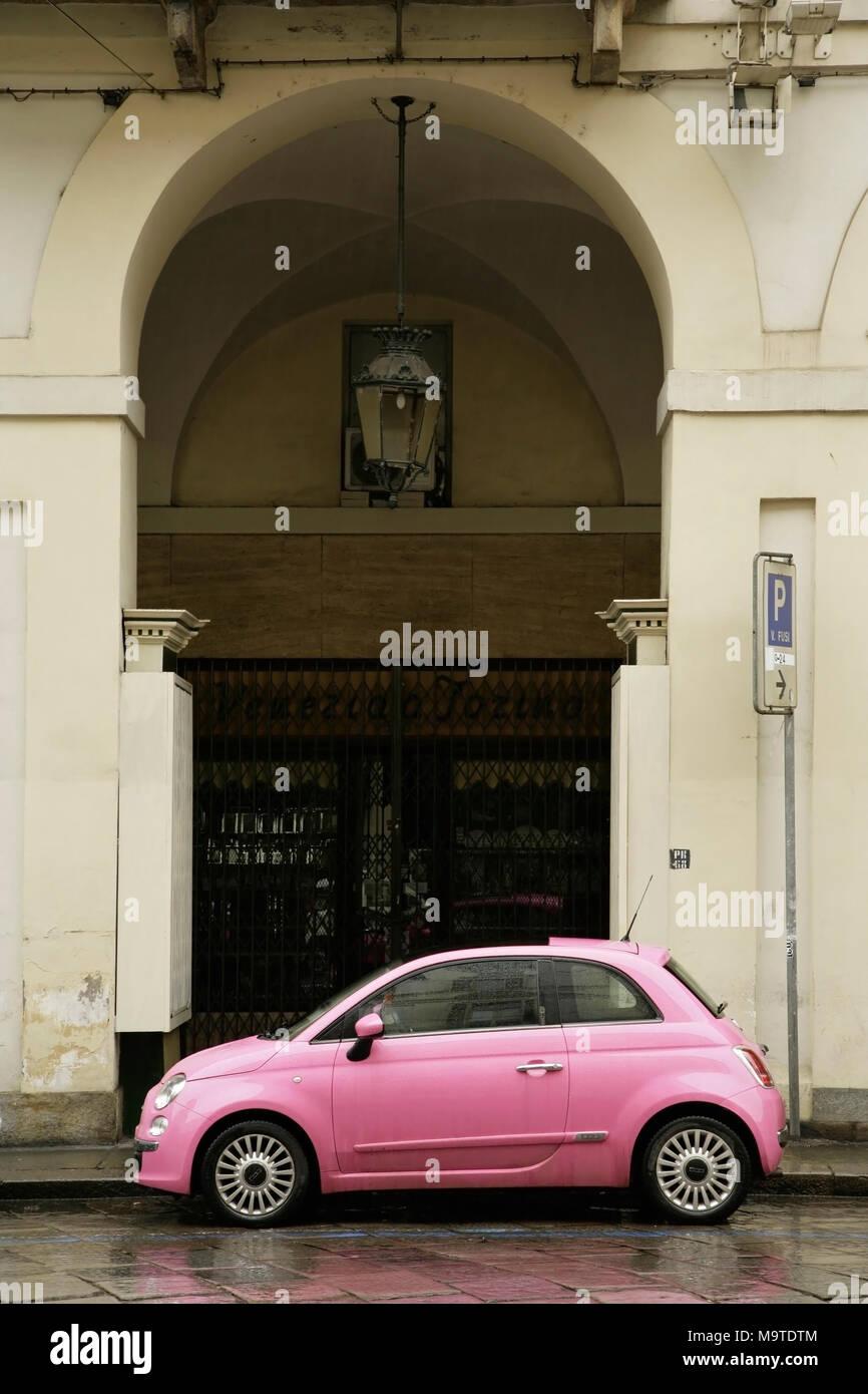 Pink Fiat 500 Rosa car, Turin, Italy. Stock Photo