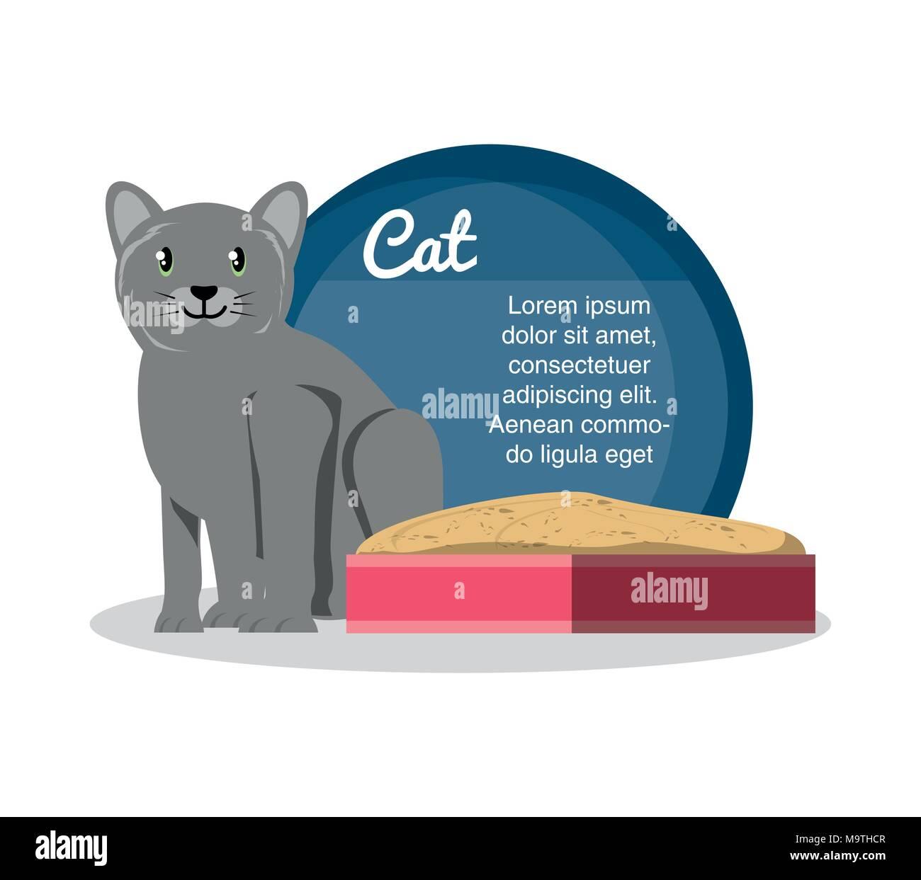 cat on sandbox icon vector illustration design - Stock Image