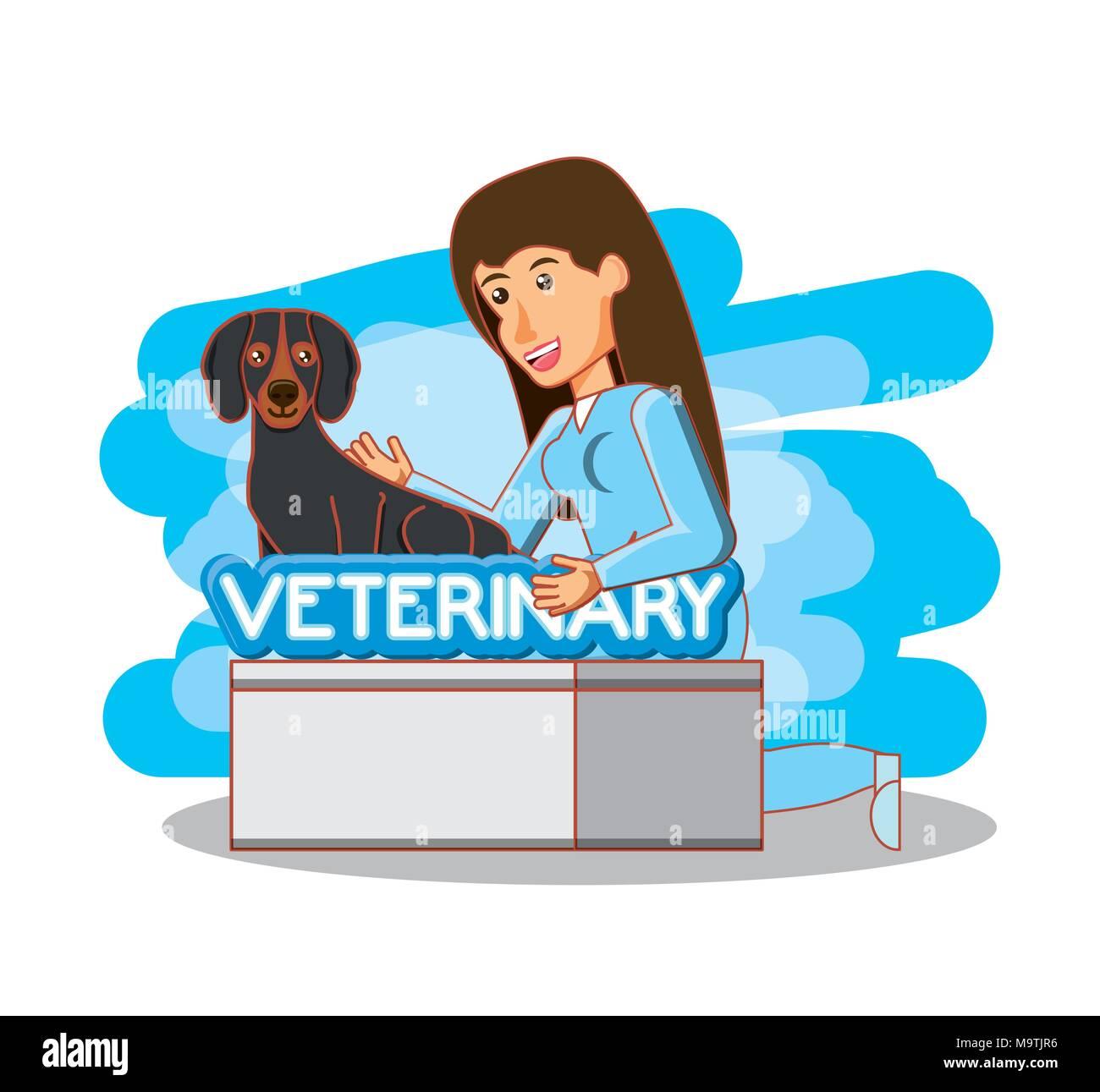 veterinary in attention office vector illustration design - Stock Image