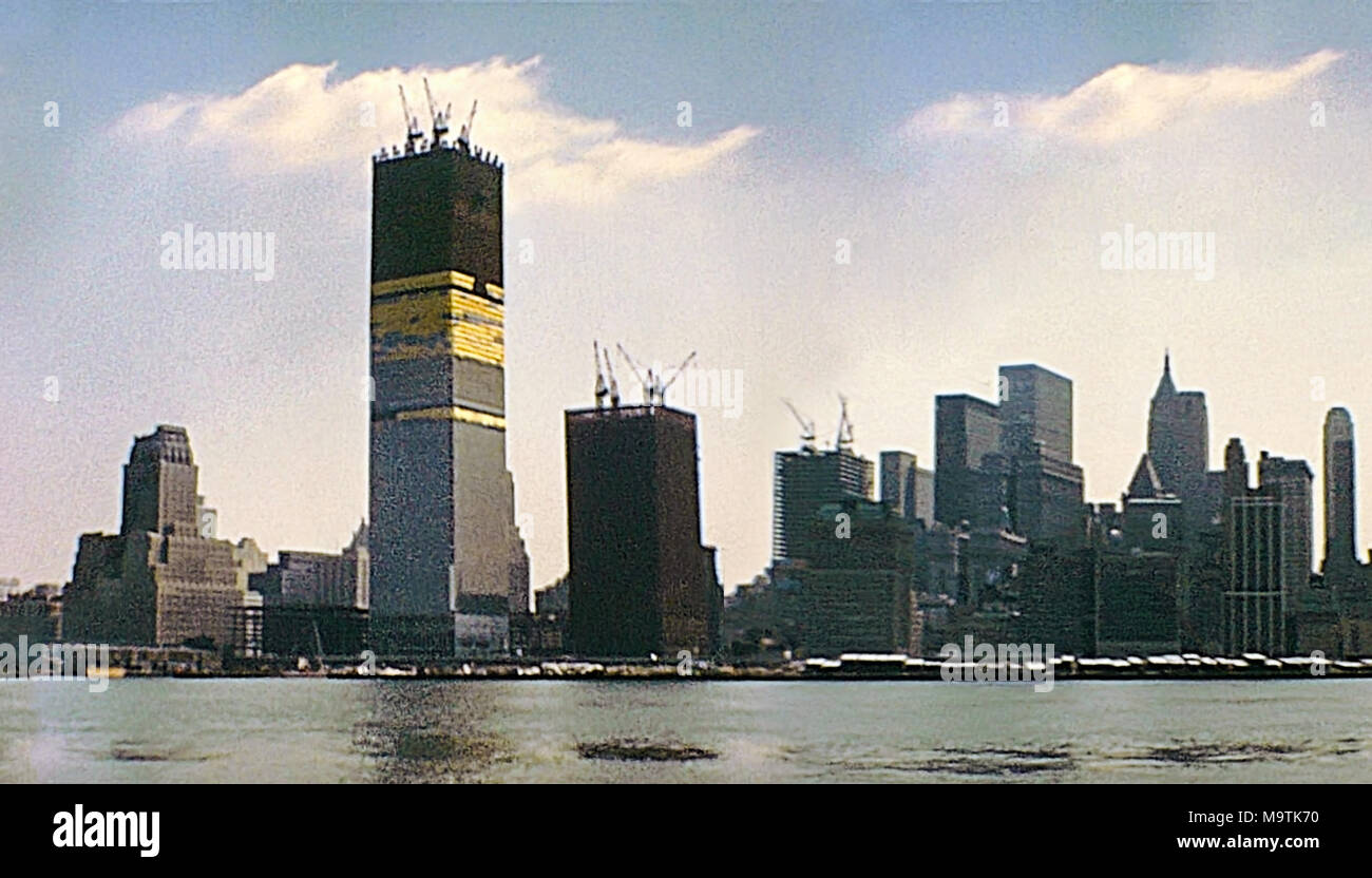 20cf112093f New York vintage image on 1970 about construction site of Twin Towers under  construction on seventy