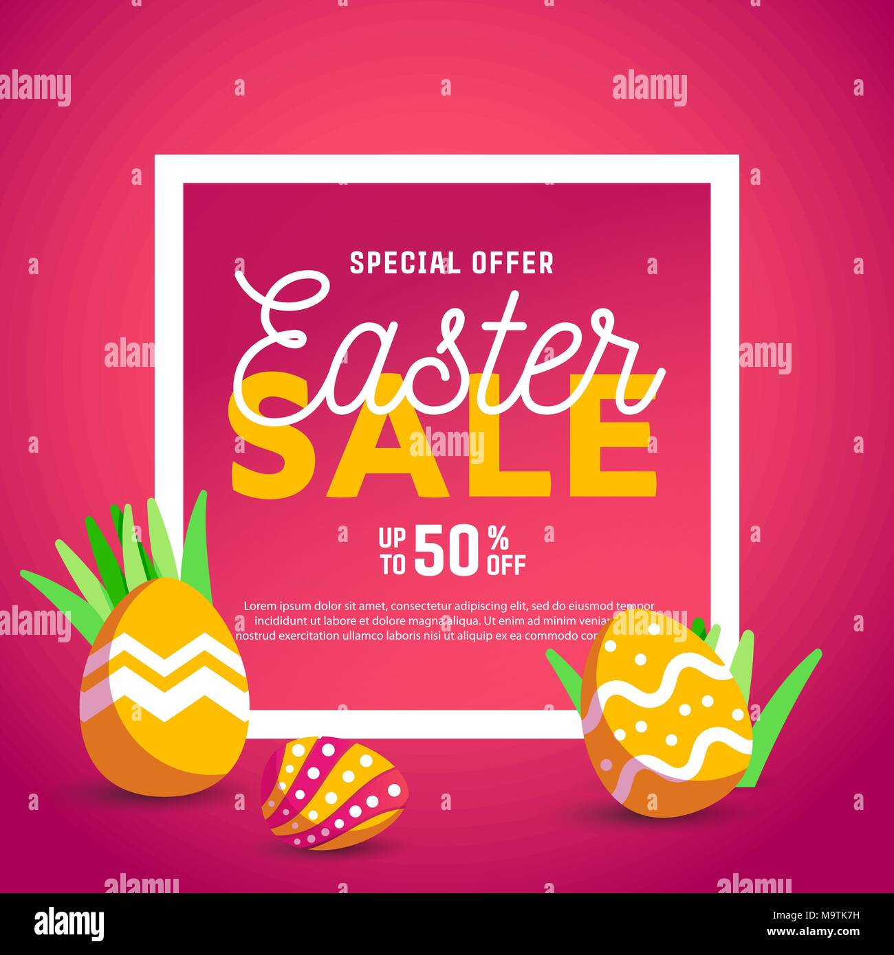 Easter egg  greeting card. Vector Easter Flyer Illustration with painted eggs. Place for your text. - Stock Image