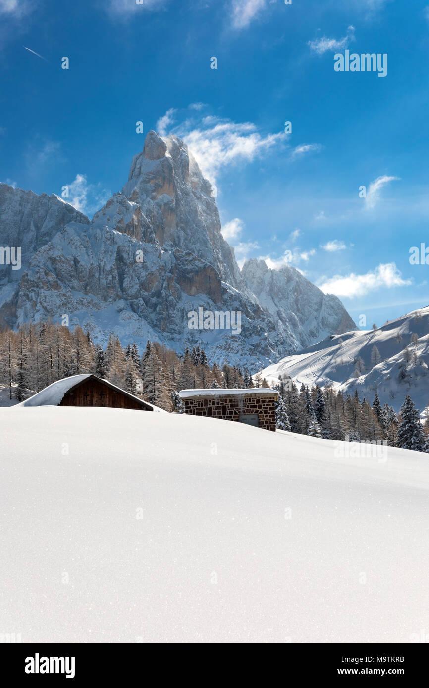 Pale di San Martino mountains, View of Passo Rolle, San Martino di Castrozza village, Trento district, Trentino Alto Adige, Italy Stock Photo