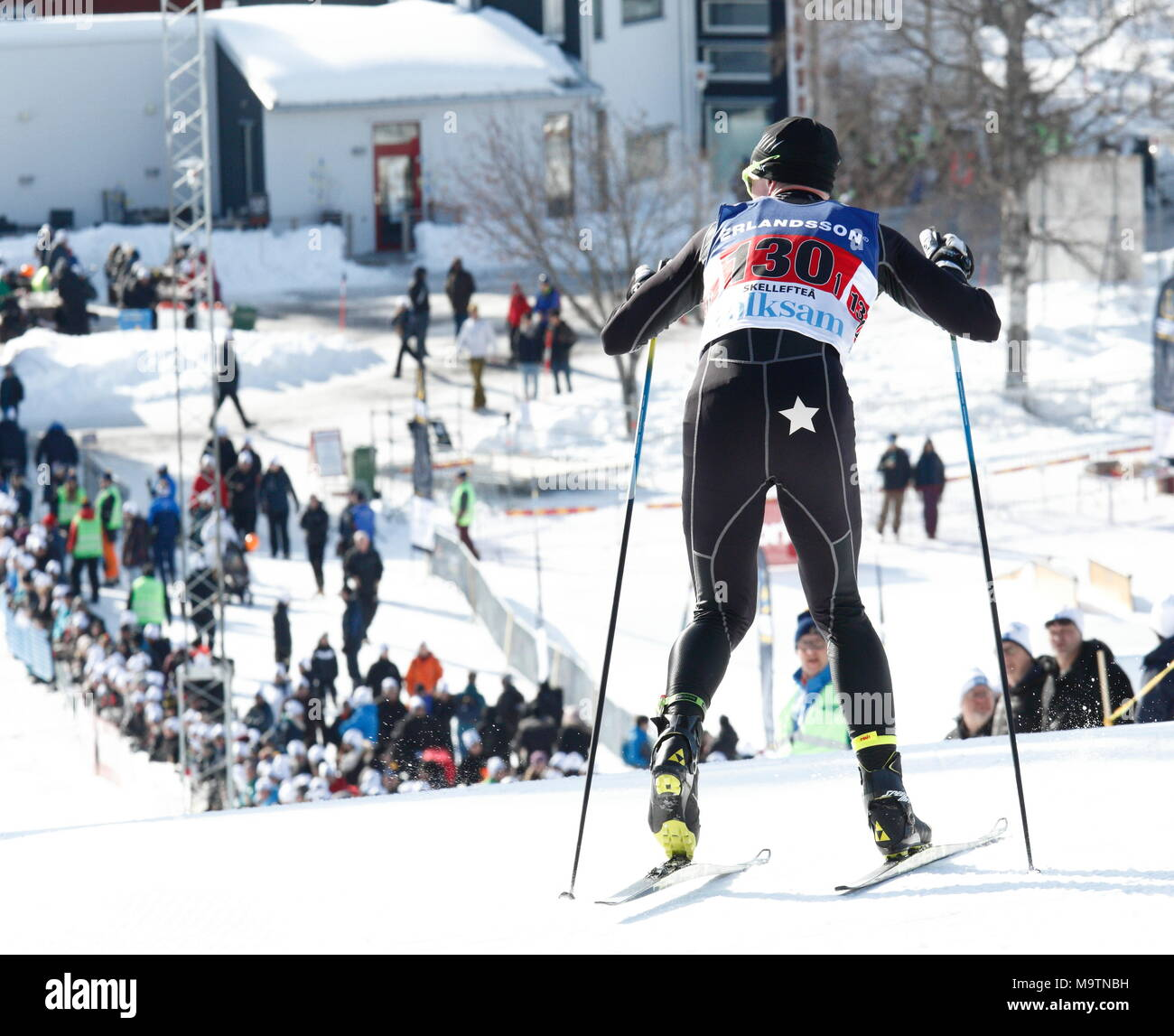 Action from the gruelling cross-country ski event at the Swedish Masters competition, SM Veckan, Skellefteå, Sweden 2018 - Stock Image