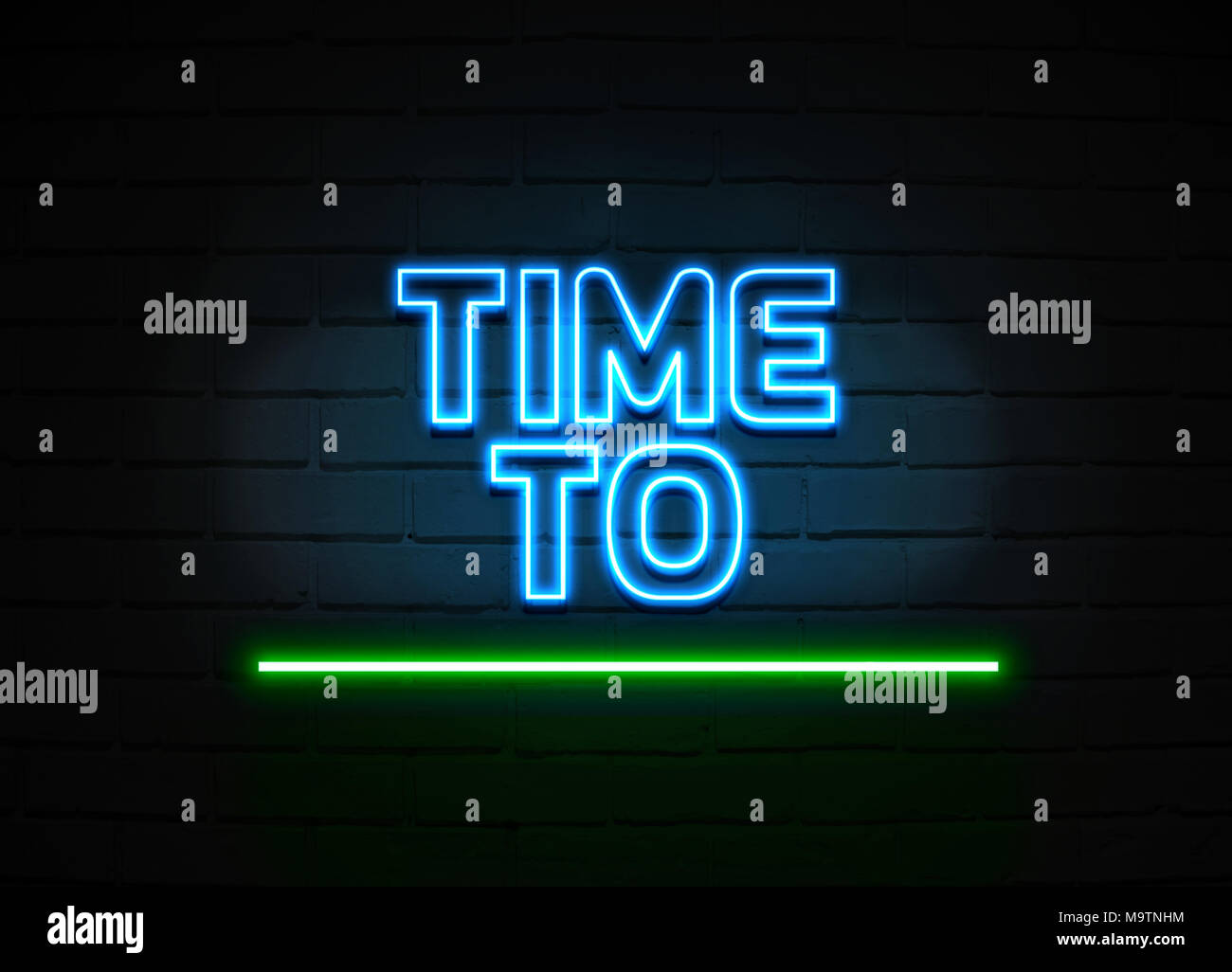 Time To Evaluate neon sign - Glowing Neon Sign on brickwall wall - 3D rendered royalty free stock illustration. Stock Photo