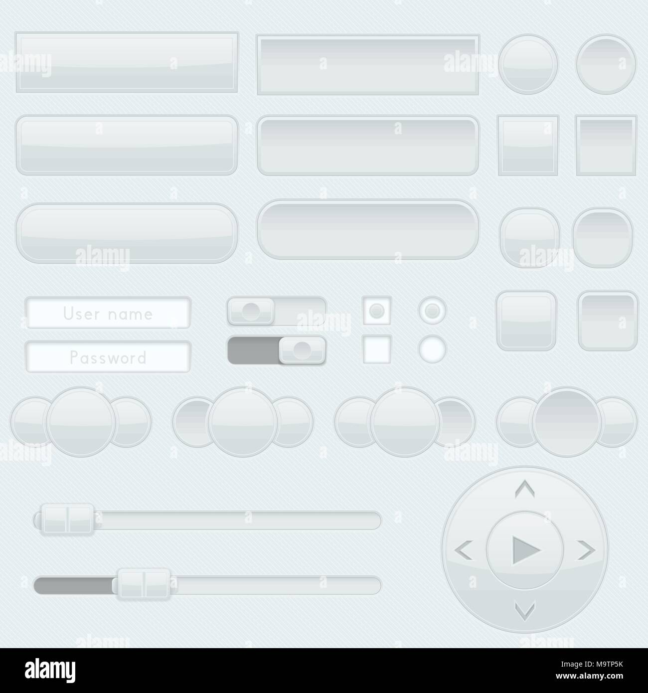 Light grey interface buttons, sliders and toggle switches - Stock Image