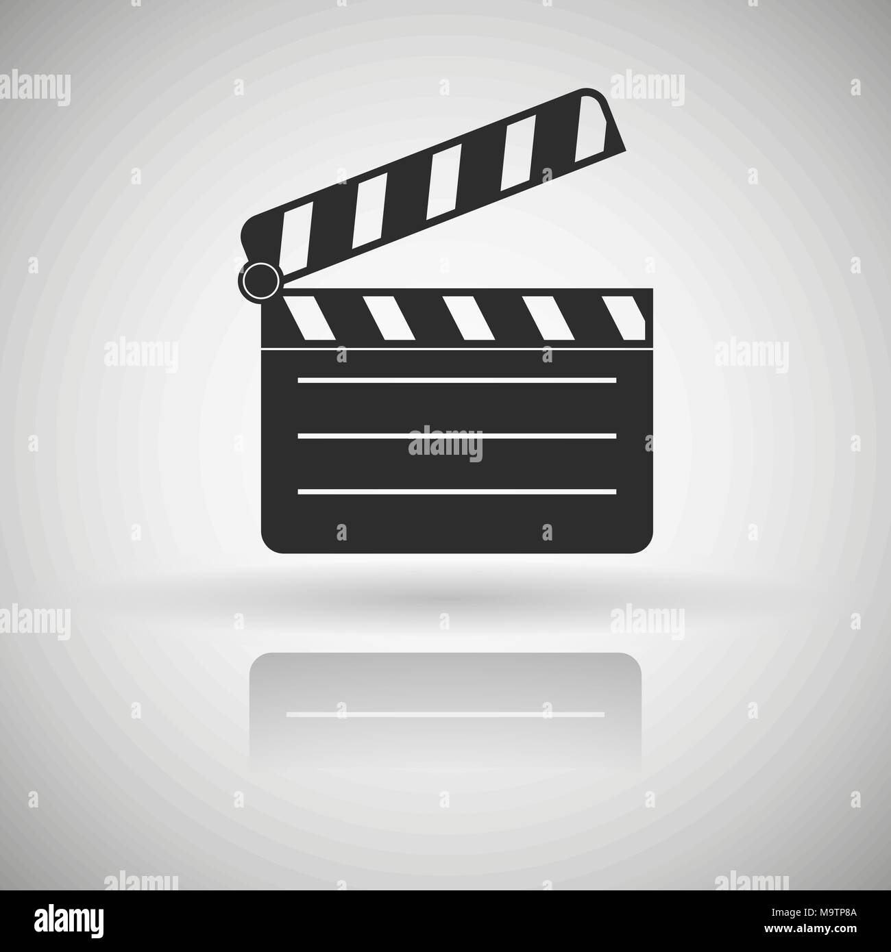 Movie motion clip. Black flat icon with shadow and reflection - Stock Image