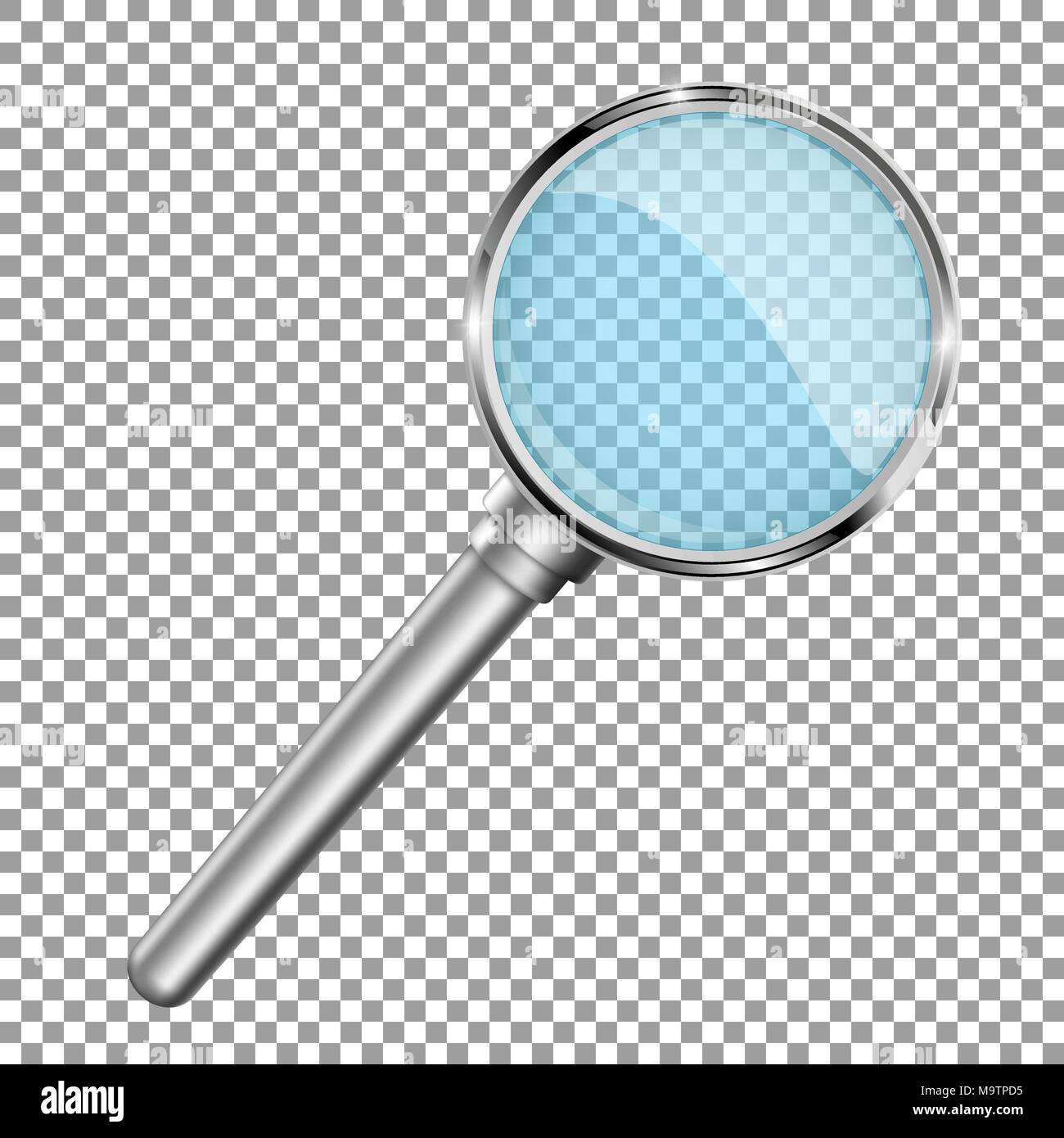 Transparent magnifying glass. Vector 3d illustration - Stock Image