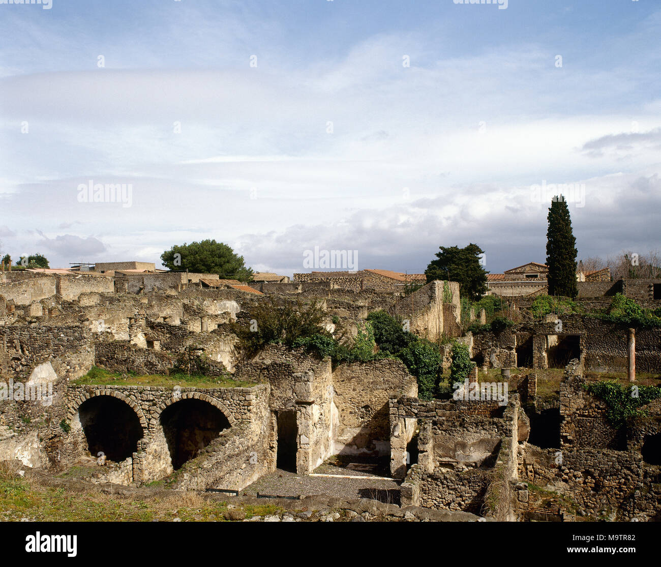 Ancient Roman City Destroyed Because Of The Vesuvius Eruption In 79 AD Panoramic North Since Odeon Pompei Campania Italy