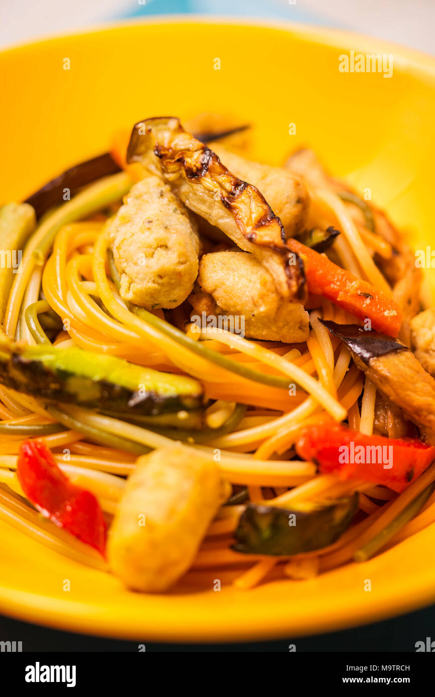 Vegetarian pasta with soy fricandel - Stock Image