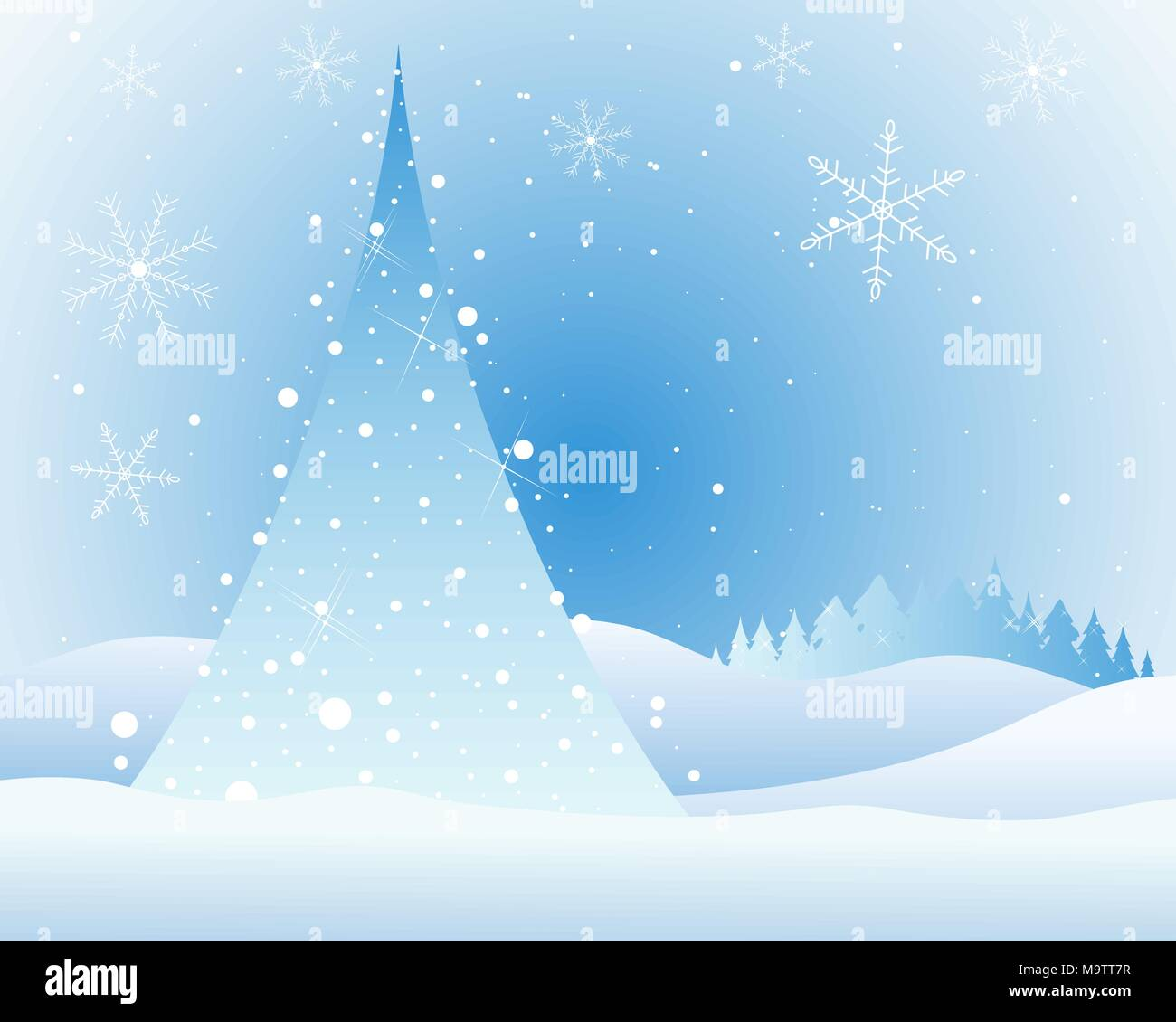 8fa6dc02e2a8ff an illustration of an abstract christmas tree with white lights and  sparkles in a snowy landscape