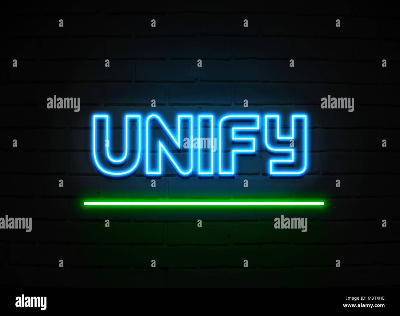 Unify neon sign - Glowing Neon Sign on brickwall wall - 3D rendered royalty free stock illustration. - Stock Image