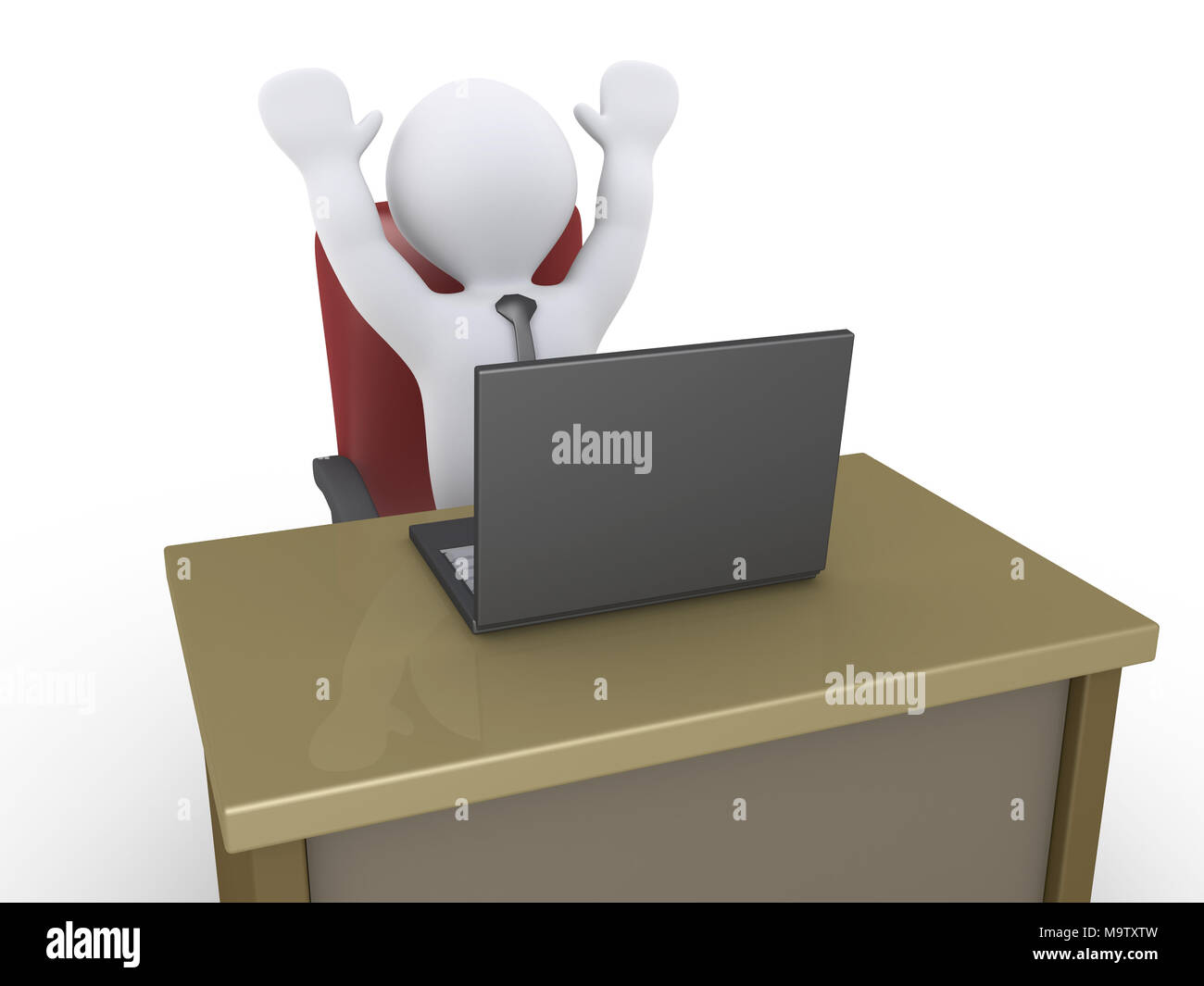 Happy 3d businessman with a laptop in an office - Stock Image
