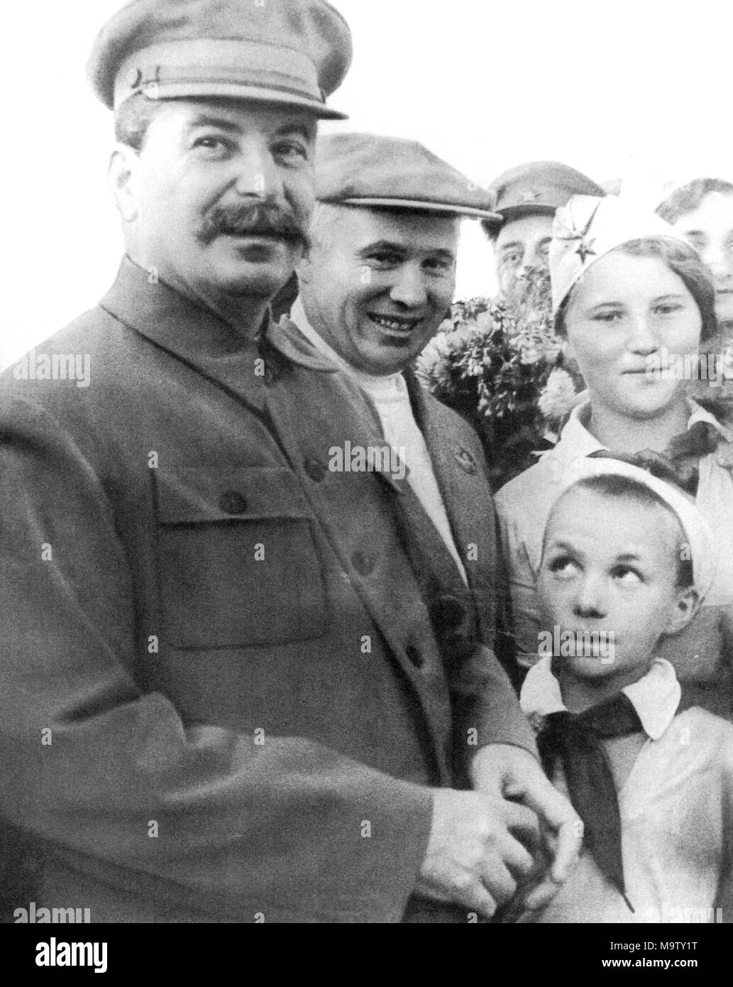JOSEPH STALIN with Nikita Khruschev about 1935 - Stock Image