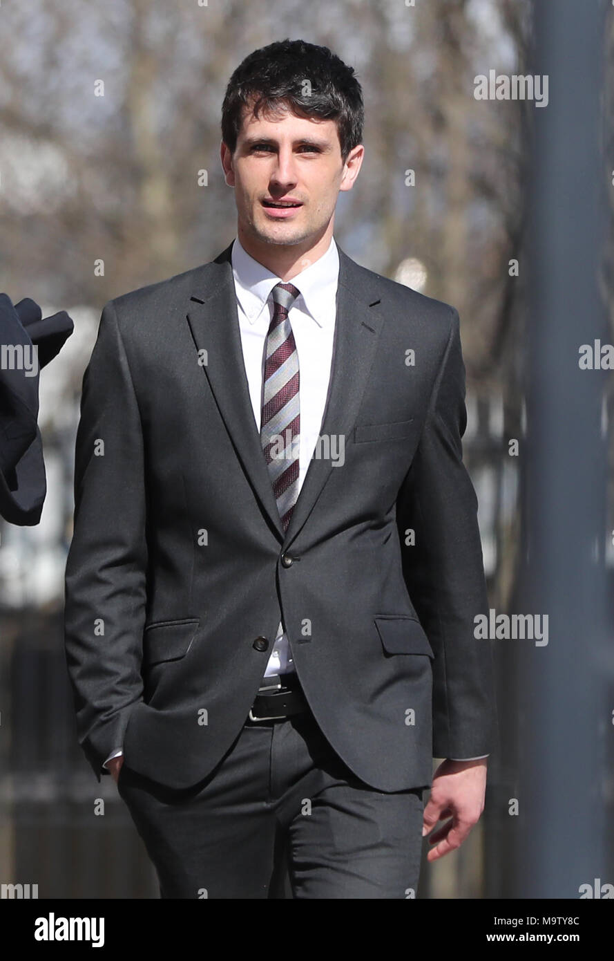 Blane McIlroy leaving Belfast Crown Court after being found not guilty of exposure. - Stock Image