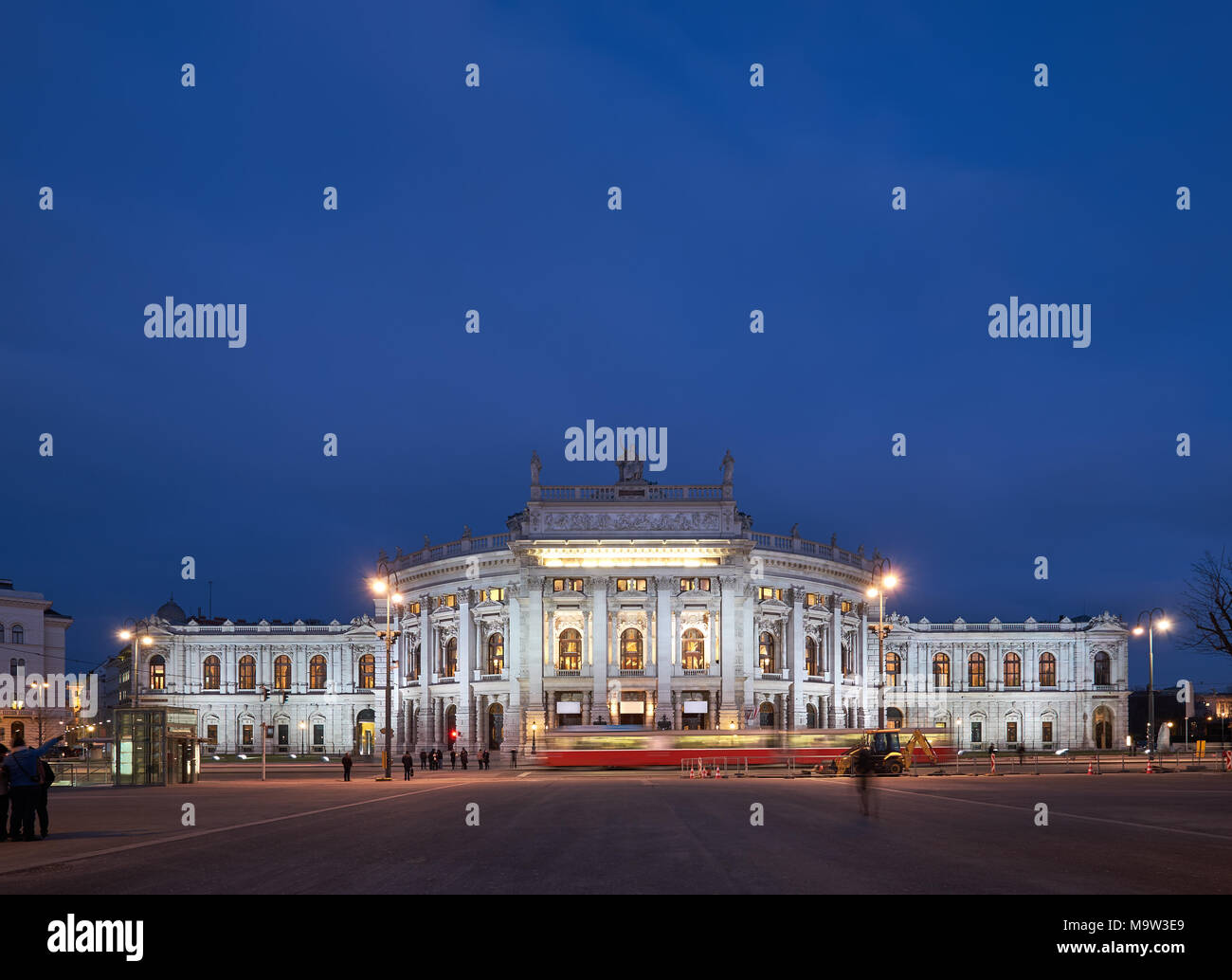 Panoramic image of Burgtheater (Imperial Court Theatre) in Vienna, Austria, at night - Stock Image