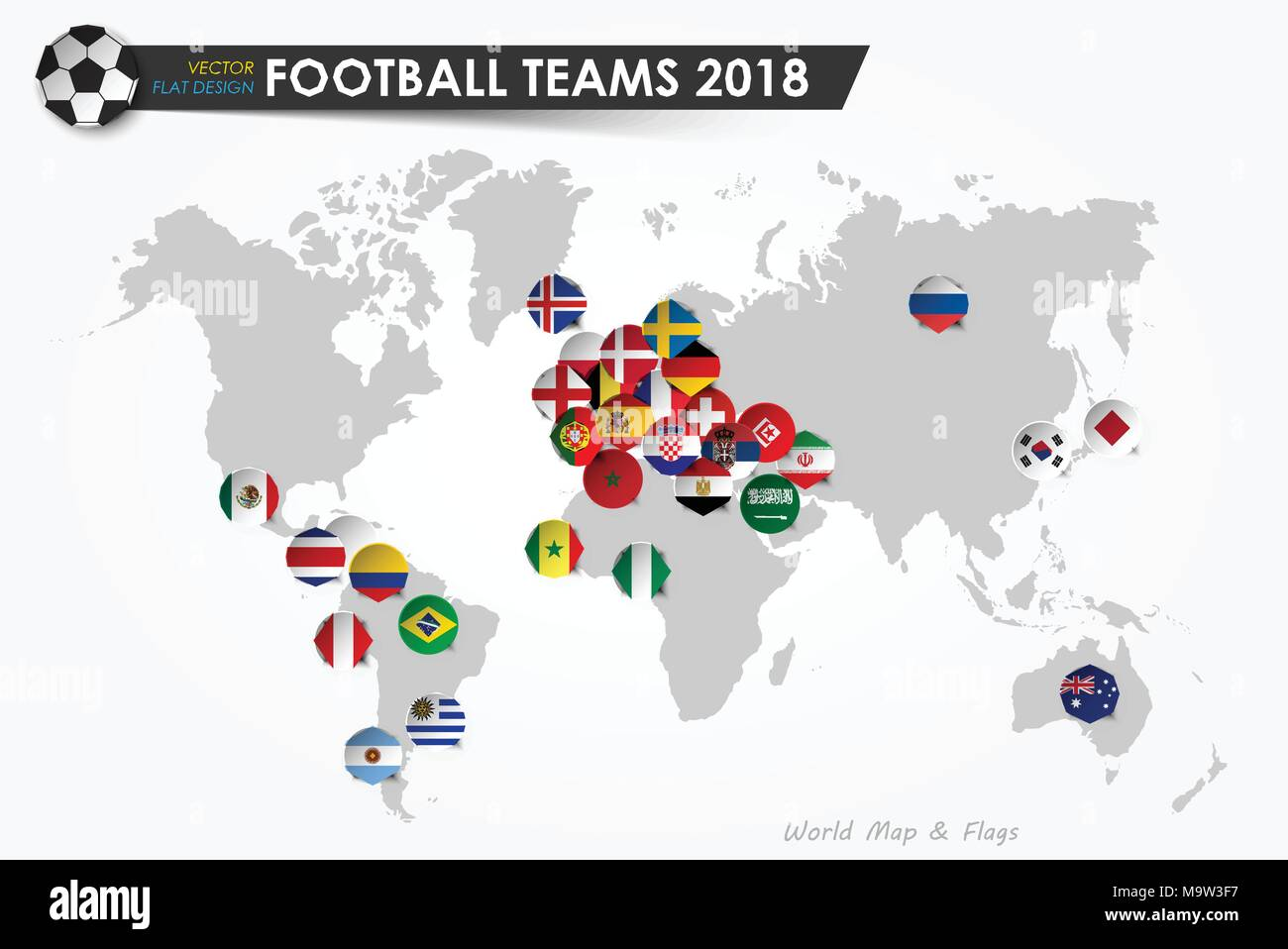 Soccer cup 2018 country flags of football teams on world map country flags of football teams on world map background vector for international world championship tournament 2018 concept flat gumiabroncs Image collections