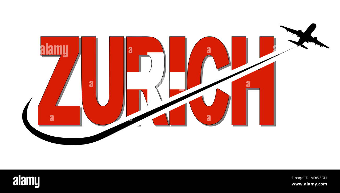Zurich flag text with plane silhouette and swoosh illustration - Stock Image
