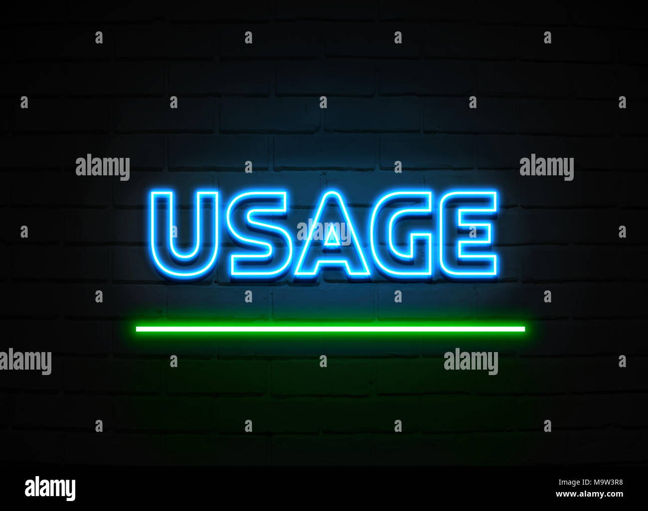 Usage neon sign - Glowing Neon Sign on brickwall wall - 3D rendered royalty free stock illustration. - Stock Image