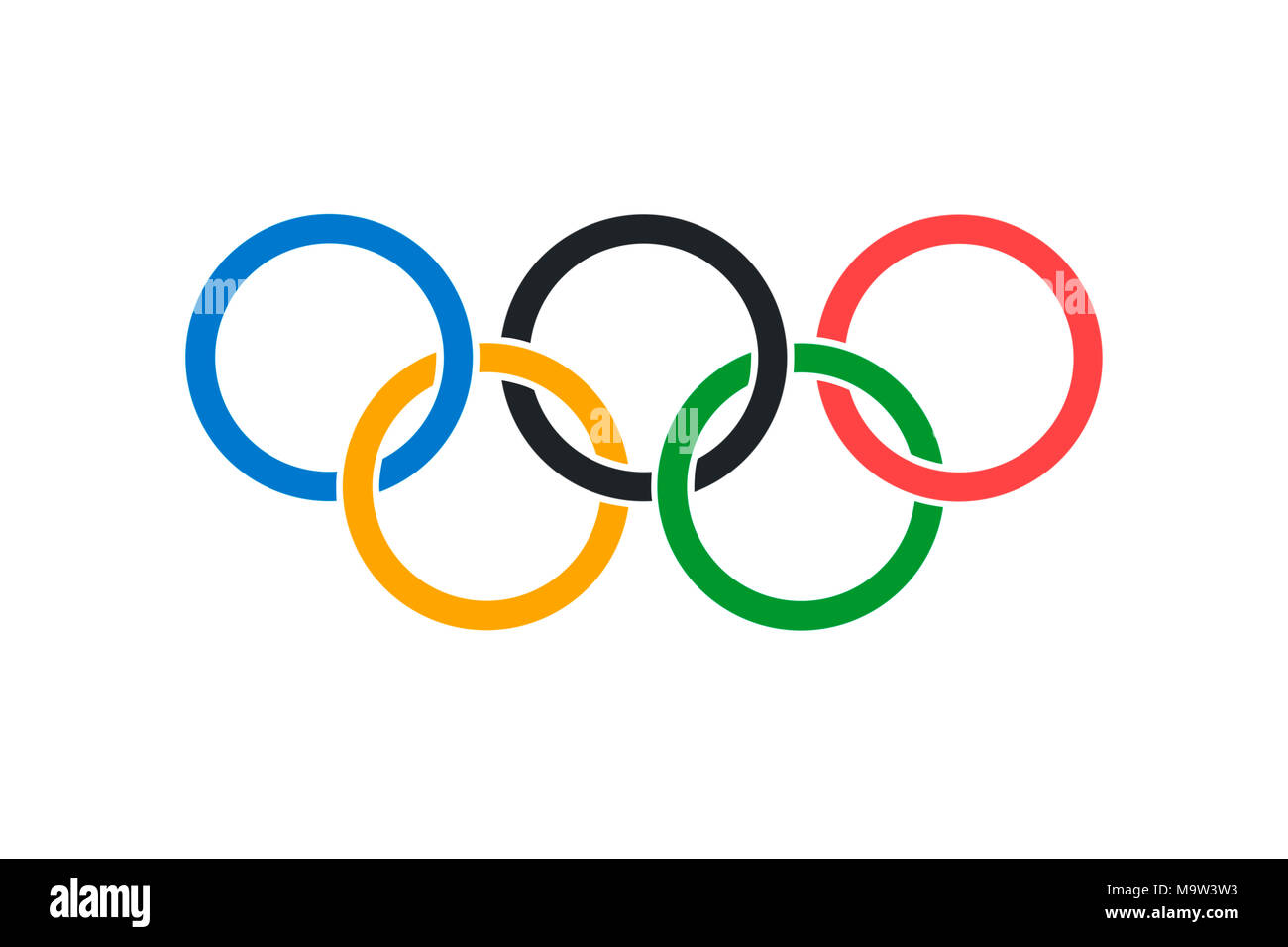 An illustration of the official Olympic Flag in both color and proportions - Stock Image