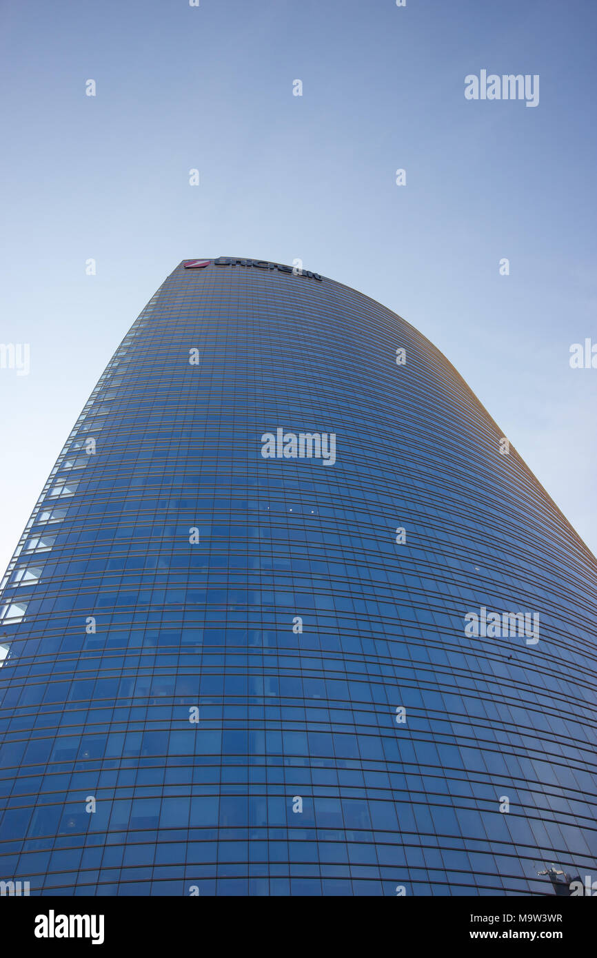 The Unicredit skyscraper Tower from below, Milan, Italy Stock Photo