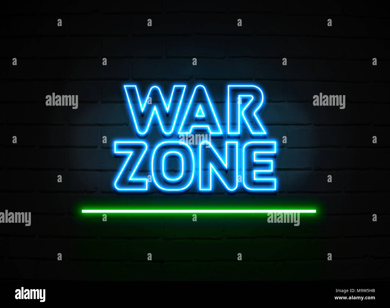 War Zone neon sign - Glowing Neon Sign on brickwall wall - 3D rendered royalty free stock illustration. - Stock Image