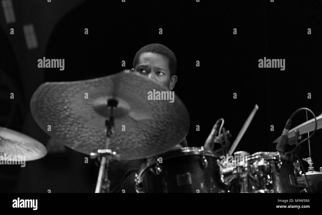 nicholas payton afro caribean mixtape drummer playing at cork jazz festival 2017 - Stock Image