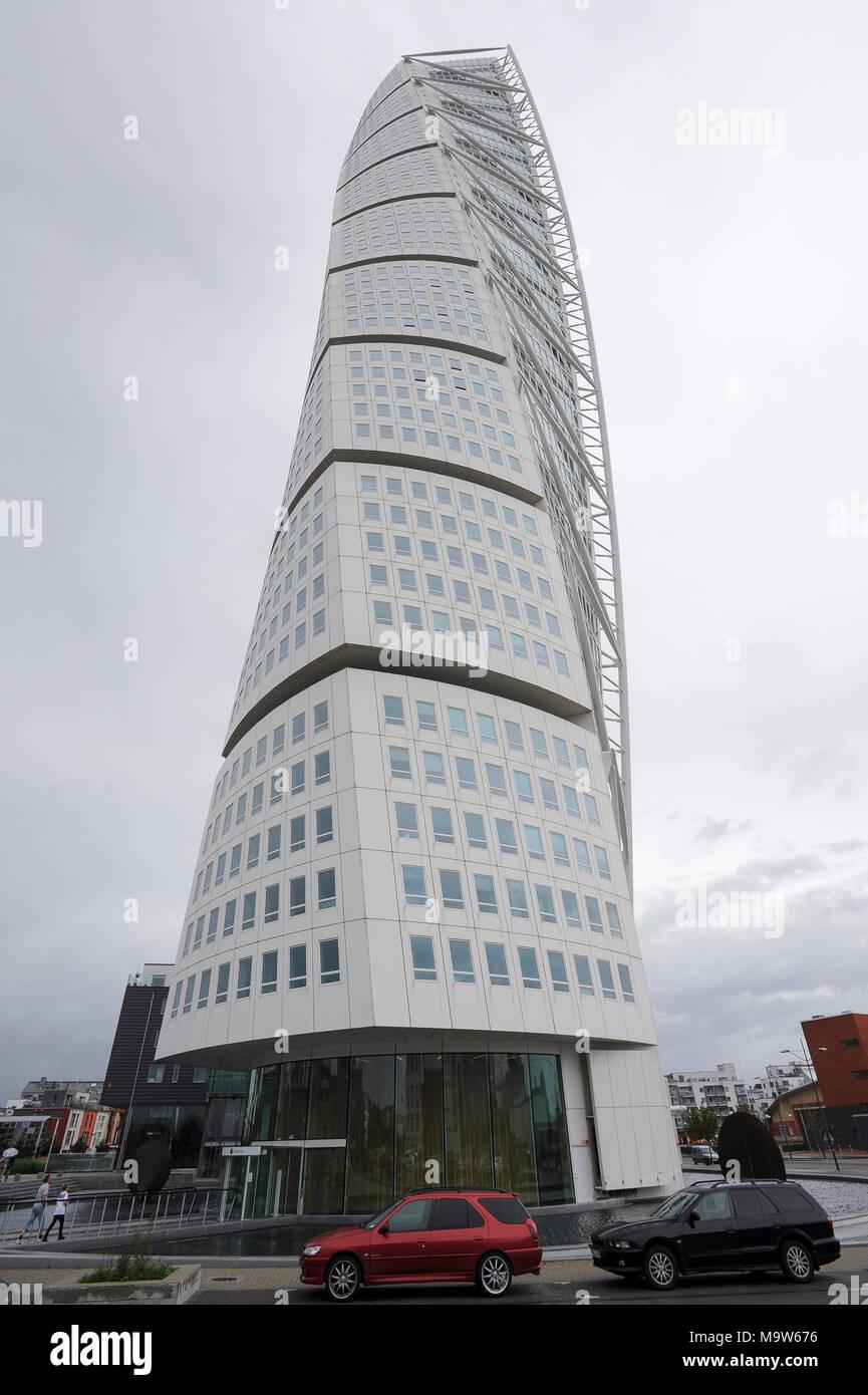 Neo Futurist Residential Skyscraper 190 Meter HSB Turning Torso In Malmo,  Scania, Sweden