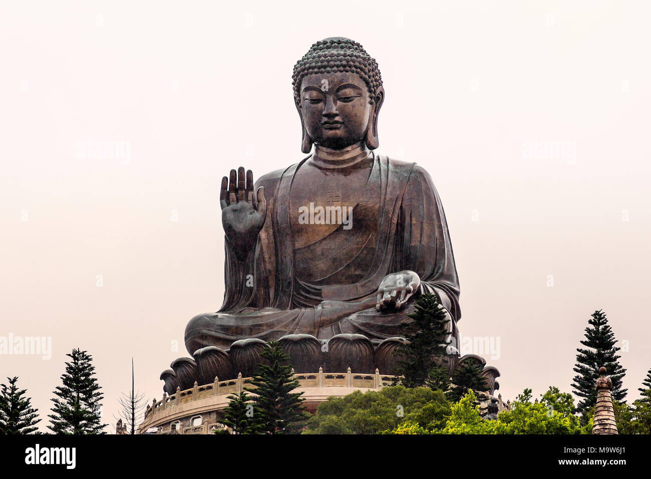 Tian Tan Buddha is a large bronze statue of Buddha Shakyamuni, It is located at Ngong Ping, Lantau Island, one of the Hong Kong Islands. - Stock Image