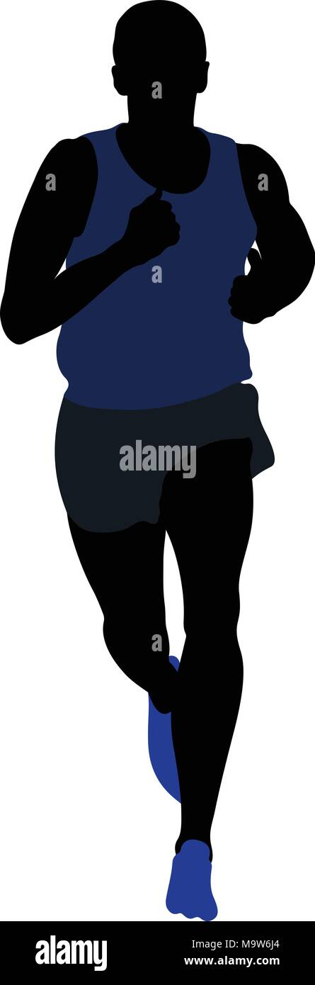 male runner athlete running middle distance black silhouette - Stock Vector