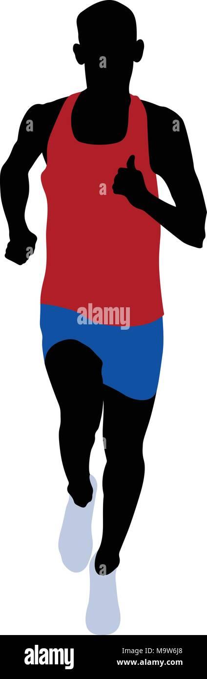 male runner athlete red shirt blue running short  leggings - Stock Vector