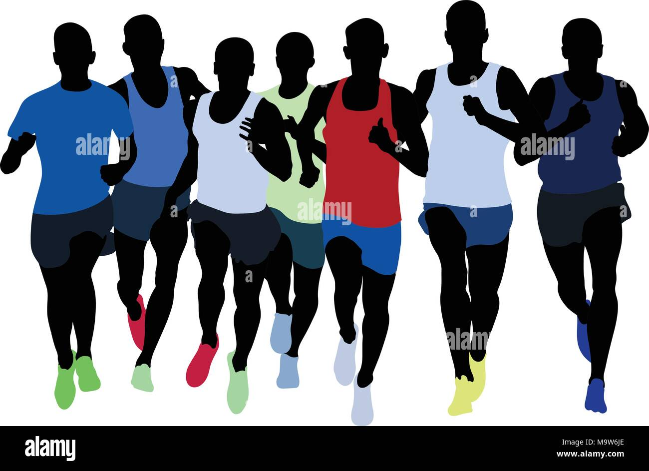 group runners athletes middle distance running - Stock Vector