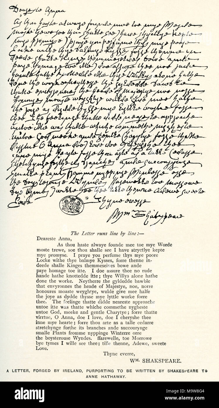 afer a letter forged by ireland purporting to be written by