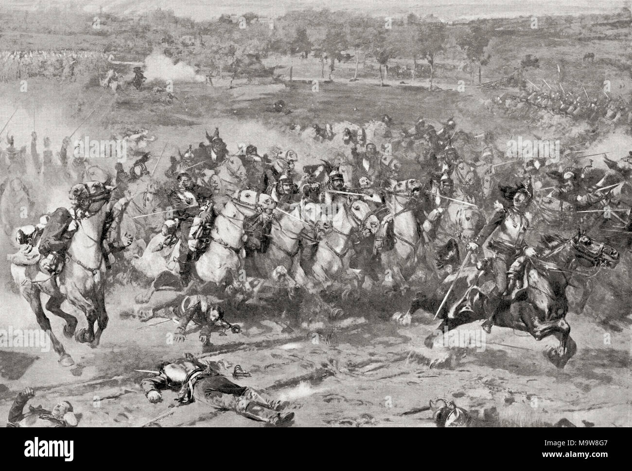 A charge of French Cuirassiers during the Franco-Prussian War of 1870.  From Hutchinson's History of the Nations, published 1915 - Stock Image