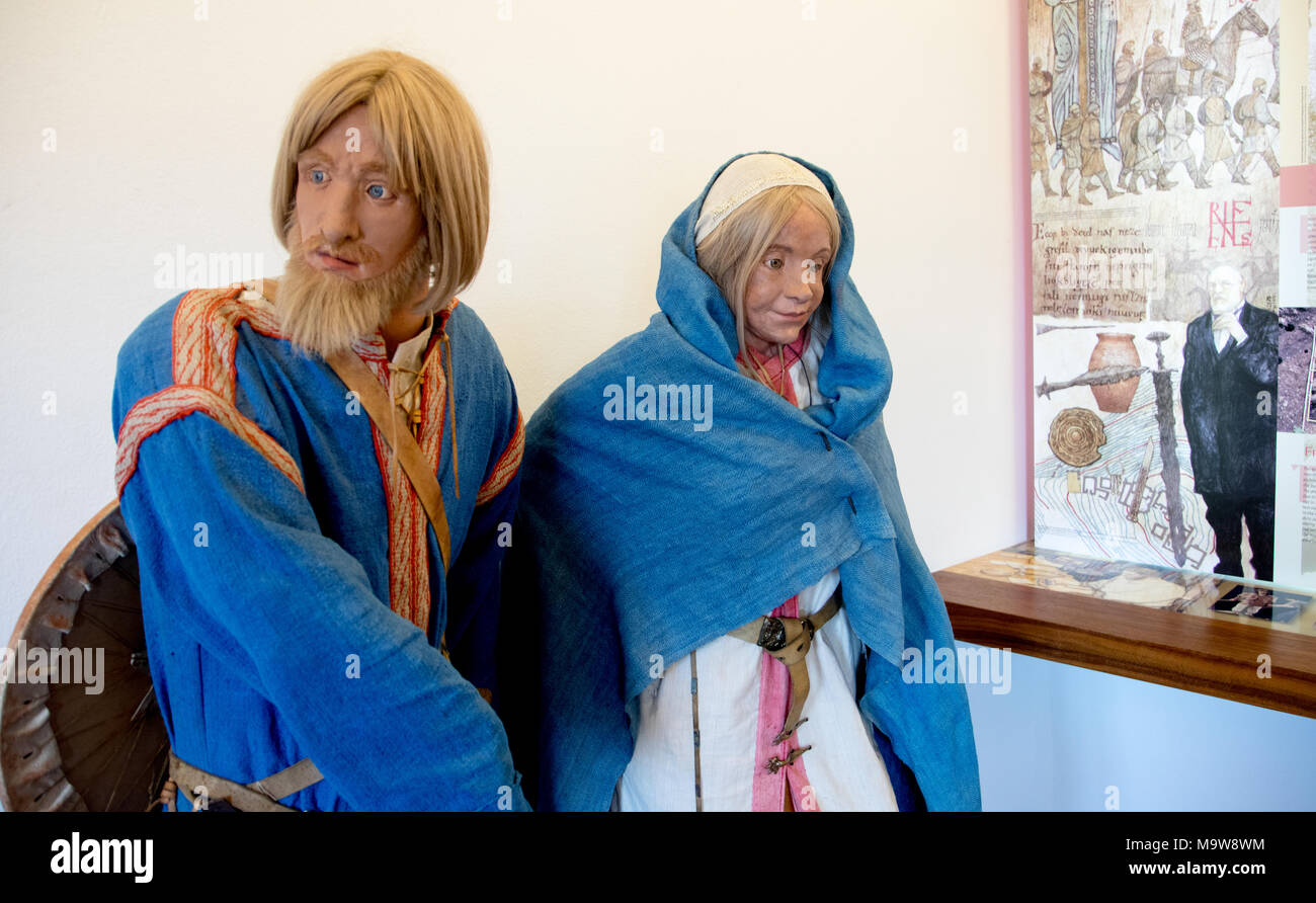 Models of Ancient Slovenian People Bled Castle Slovenia - Stock Image