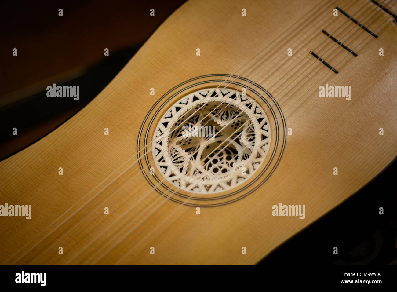 Lute - early music instrument in Brussels Belgium - Stock Image
