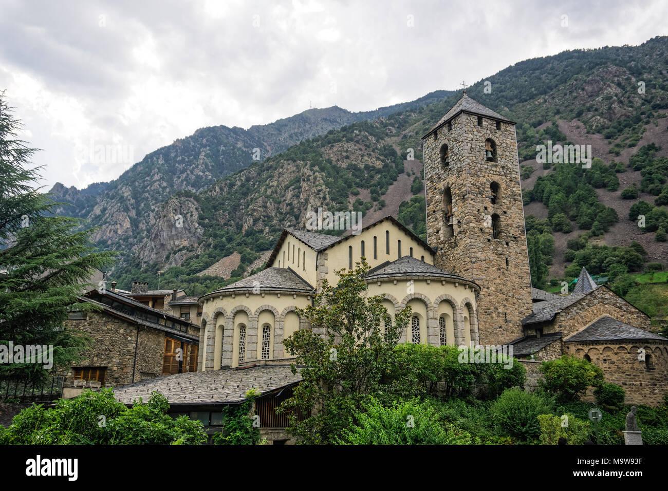 Andorral la Vella, Andorra The Chrurch of Sant Esteve facade.External of 12th century parish church Esglesia de Sant Esteve on the capital of Andorra. Stock Photo