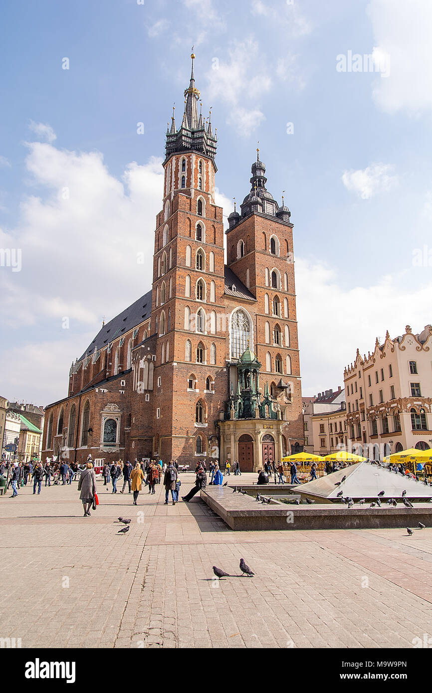St Mary church at Market Square in Krakow (Poland) - Stock Image