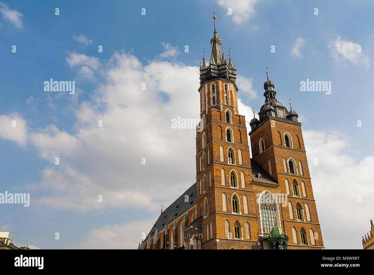 St Mary`s Church at Market Square in Krakow (Poland) - Stock Image