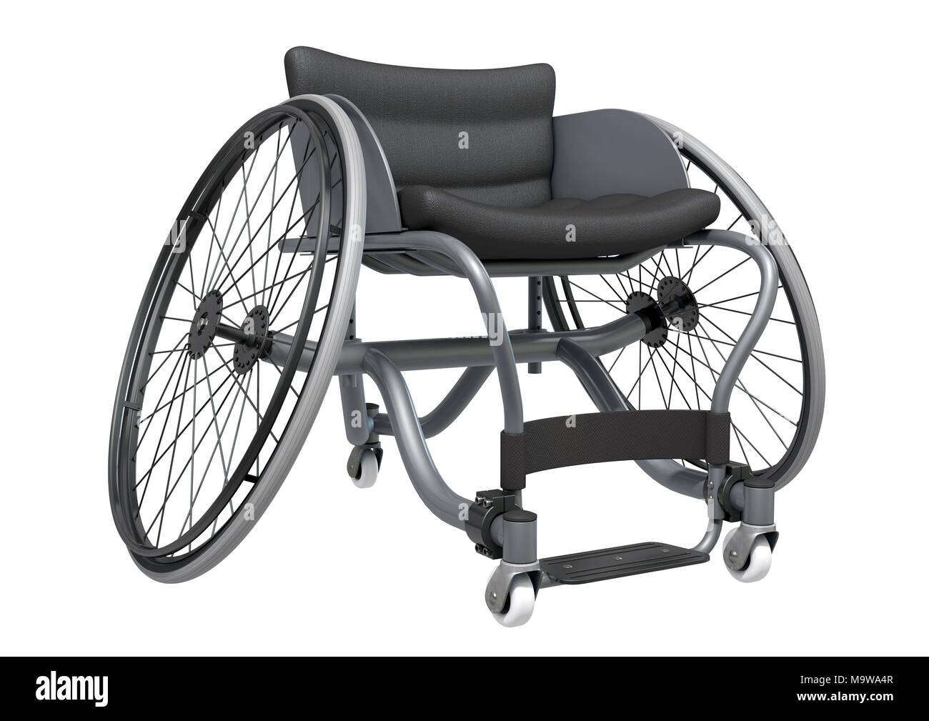 A modified wheelchair used by handicapped athletes to compete in various sporting codes isolated on white background - 3D render - Stock Image