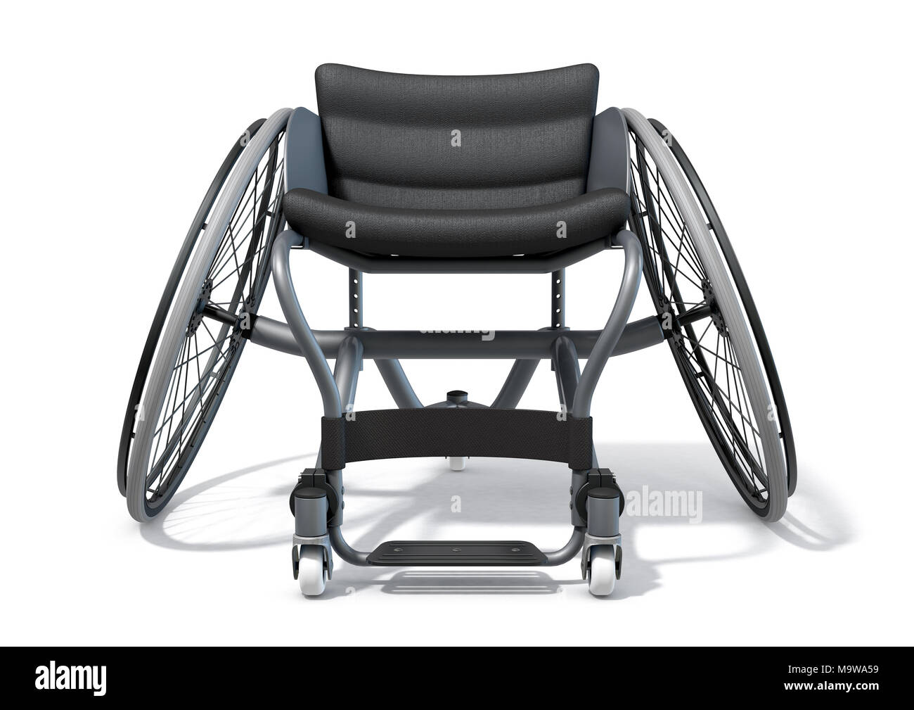 A modified wheelchair used by handicapped athletes to compete in various sporting codes on an isolated background - 3D render - Stock Image