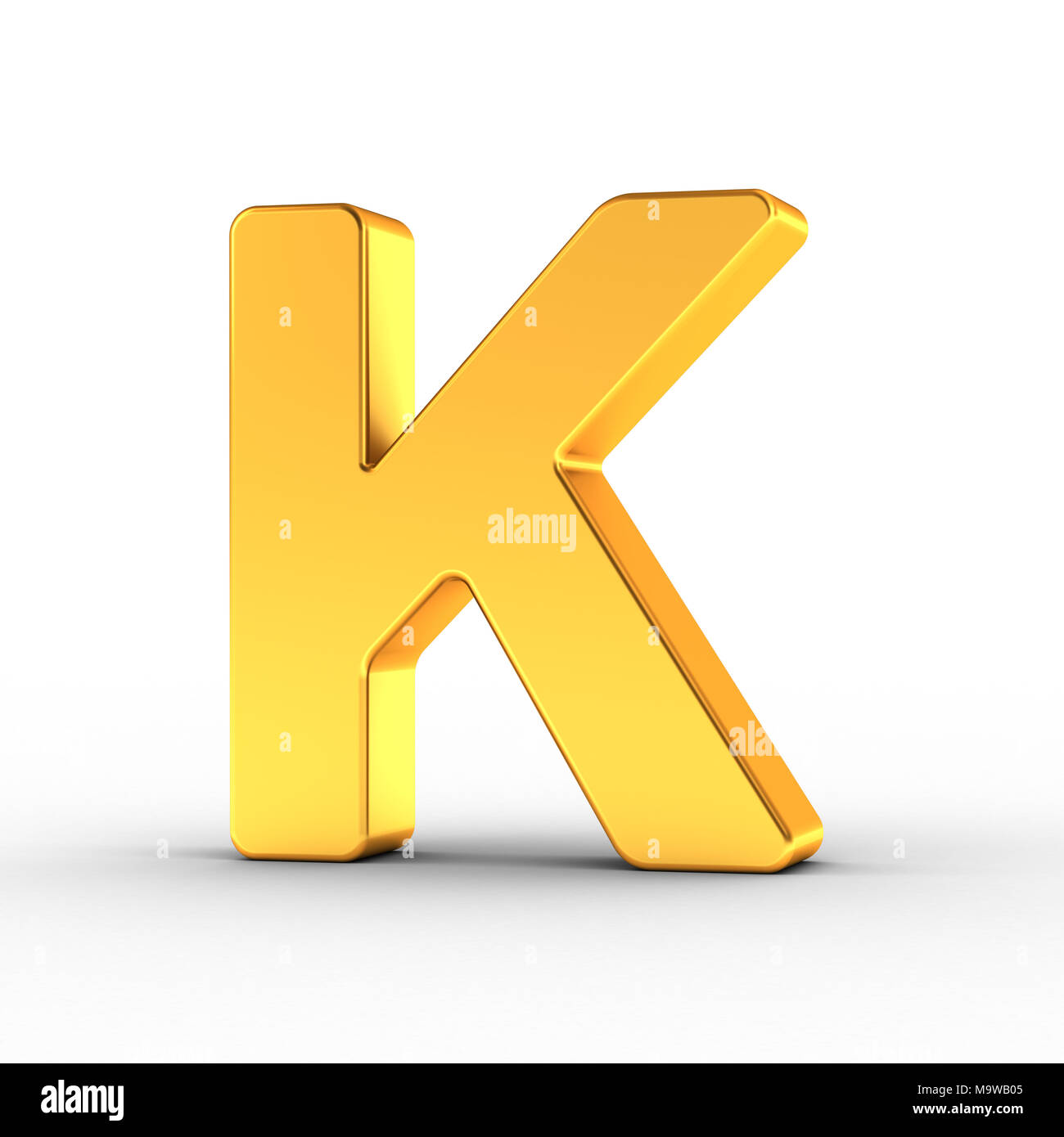 The Letter K as a polished golden object over white background with clipping path for quick and accurate isolation. - Stock Image