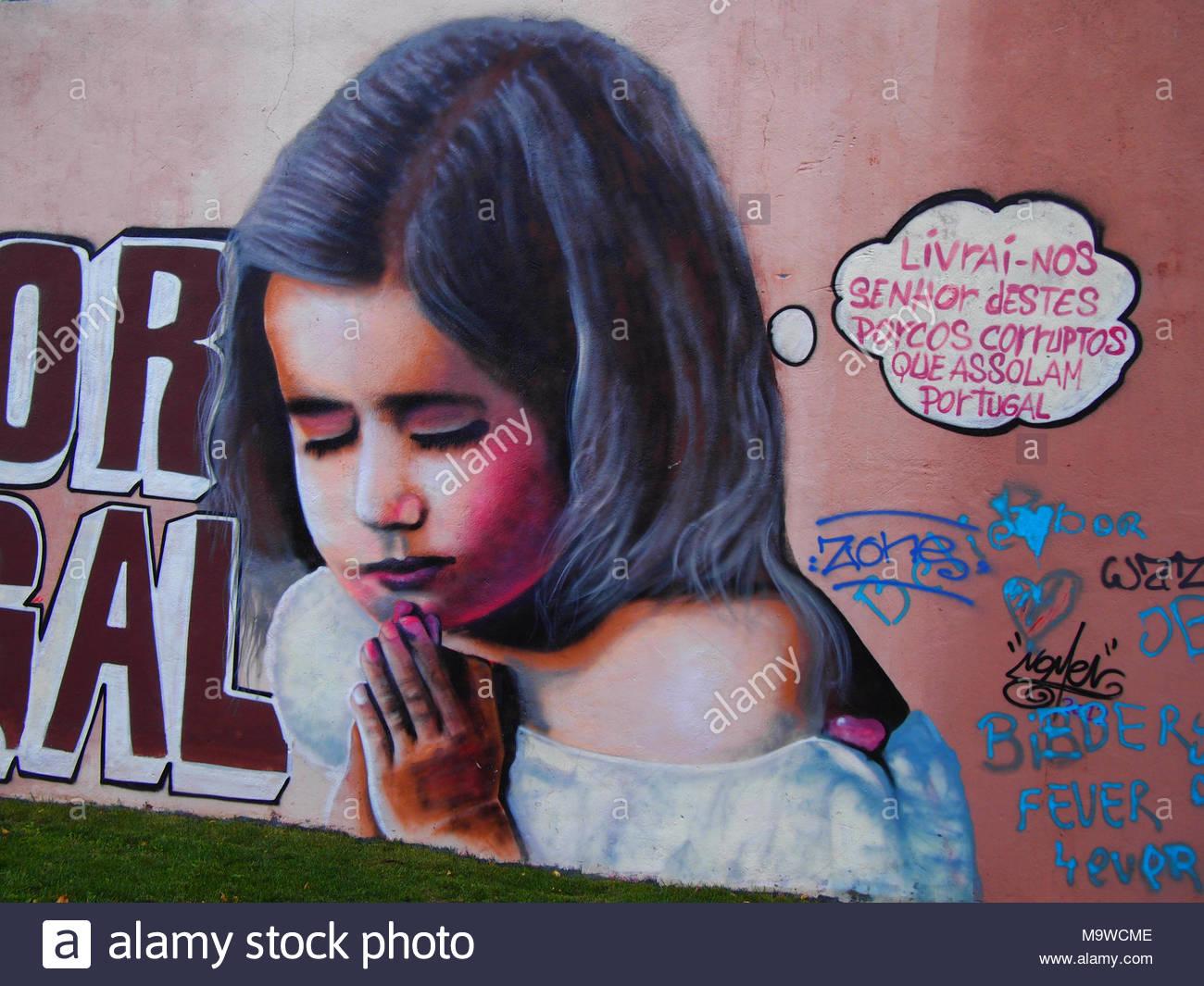Thriving urban graffiti and street art scene in Lisbon, 2014 - Stock Image