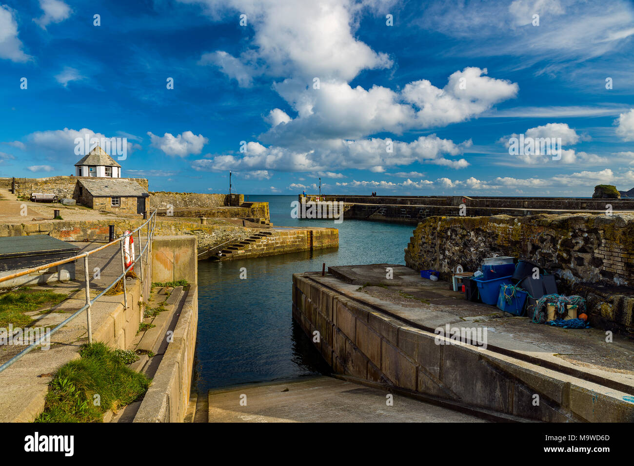 Charlestown habrour enjoys an afternoon of fine weather and sunshine - Stock Image