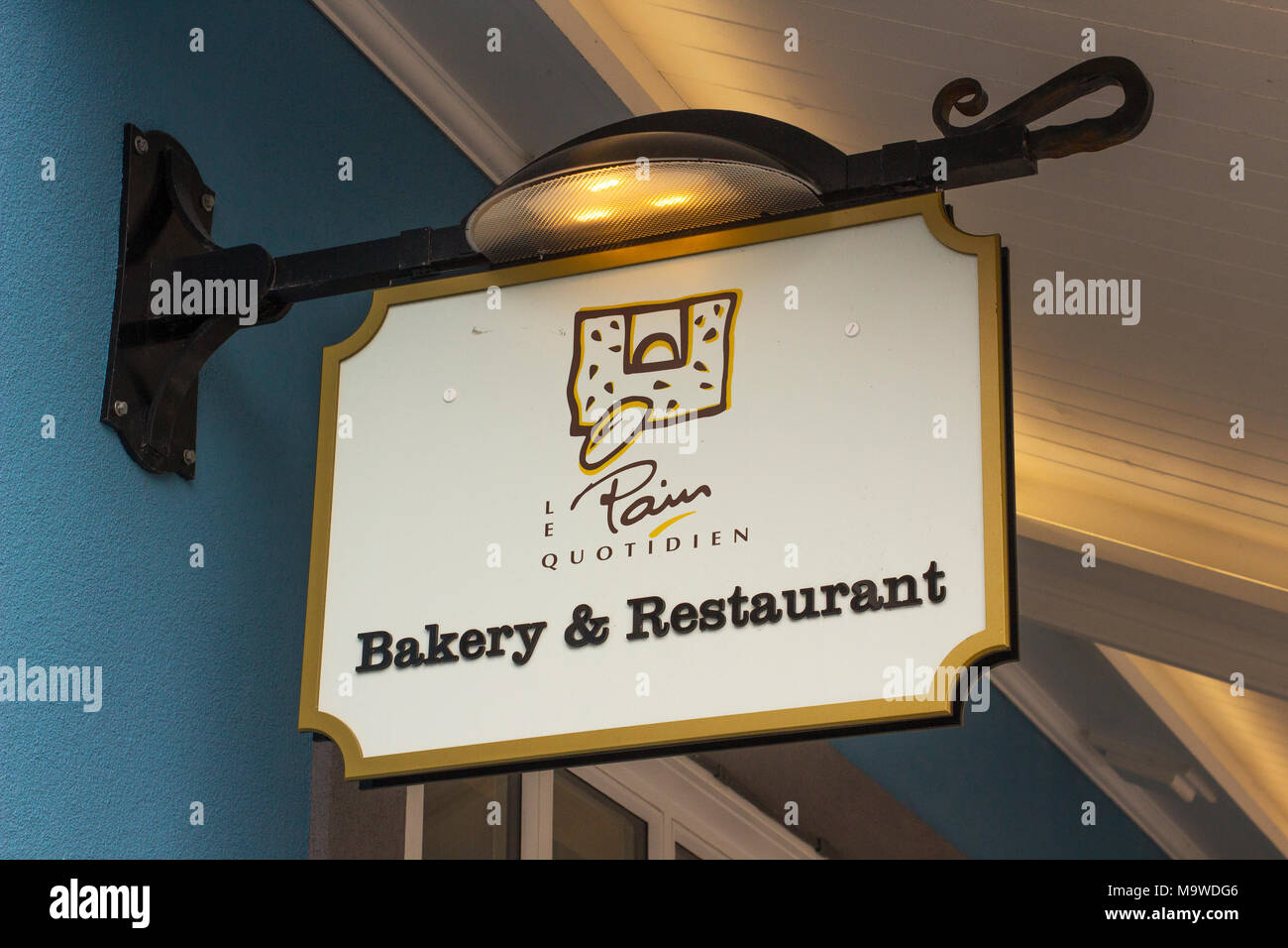 Bakery and restaurant sign at the prestigious Kildare Village retail park in County Kildare Ireland - Stock Image