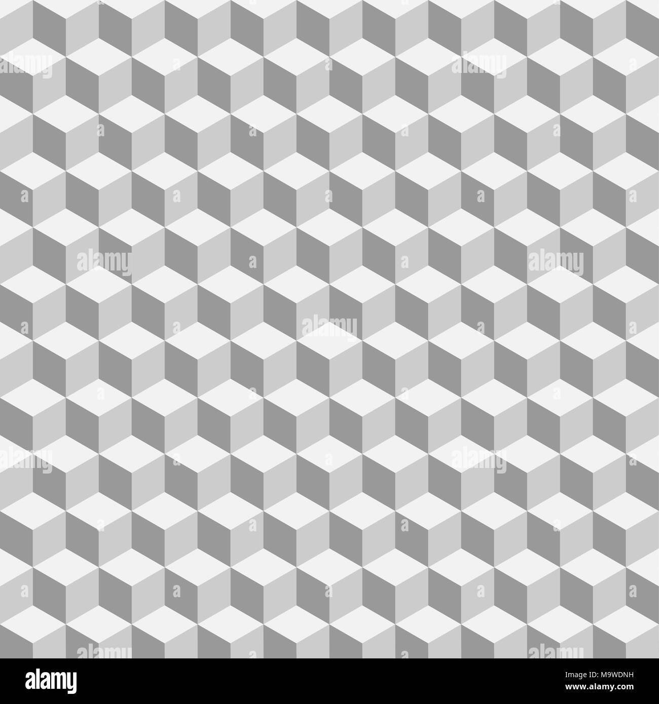 Gray isometric cubes vector pattern background - Stock Image