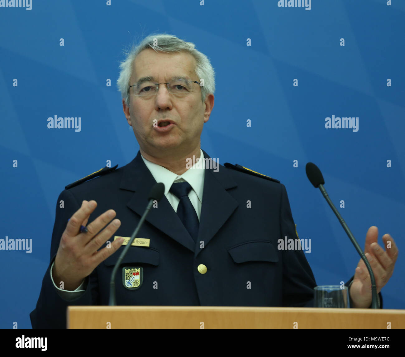 Munich, Germany. 28th Mar, 2018. Wilhelm Schmidbauer. Bavarian Minister of Interiour and Integration Joachim Herrmann of the Christian Social Union (CSU) presented the Bavarian police crime statistics of 2017. Also the president of the Bavarian police Wilhelm Schmidbauer spoke at the press conference. Credit: Alexander Pohl/Pacific Press/Alamy Live News - Stock Image