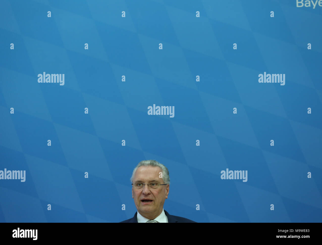 Munich, Germany. 28th Mar, 2018. Joachim Herrmann. Bavarian Minister of Interiour and Integration Joachim Herrmann of the Christian Social Union (CSU) presented the Bavarian police crime statistics of 2017. Also the president of the Bavarian police Wilhelm Schmidbauer spoke at the press conference. Credit: Alexander Pohl/Pacific Press/Alamy Live News - Stock Image