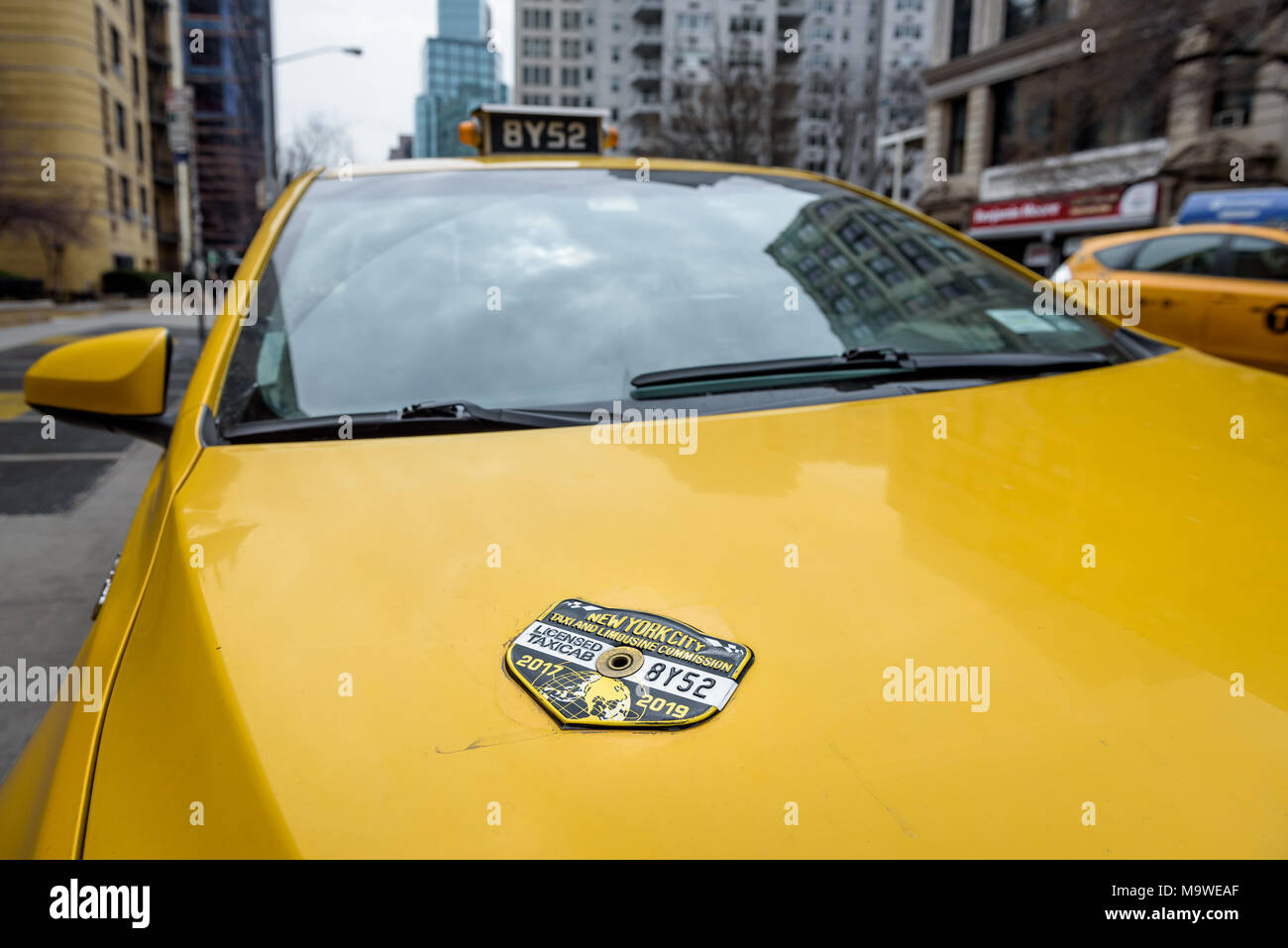 """New York, United States. 28th Mar, 2018. NYC Yellow Taxi - Taxi medallion owners and drivers gathered at the City Hall steps on March, 28, 2018; to say, """"Enough is enough."""" The industry is in chaos and tragedy has followed in the wake. NYC cabbies are being driven to the edge of financial ruin and despair as ride-hail apps like Uber and Lyft continue to take their customers. Last week, Nicanor Ochisor became the fourth driver suicide since November. Credit: Erik McGregor/Pacific Press/Alamy Live News Stock Photo"""