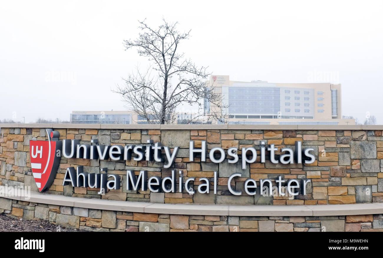 The University Hospitals Ahuja Medical Center in Beachwood, Ohio can be seen in the distance. - Stock Image