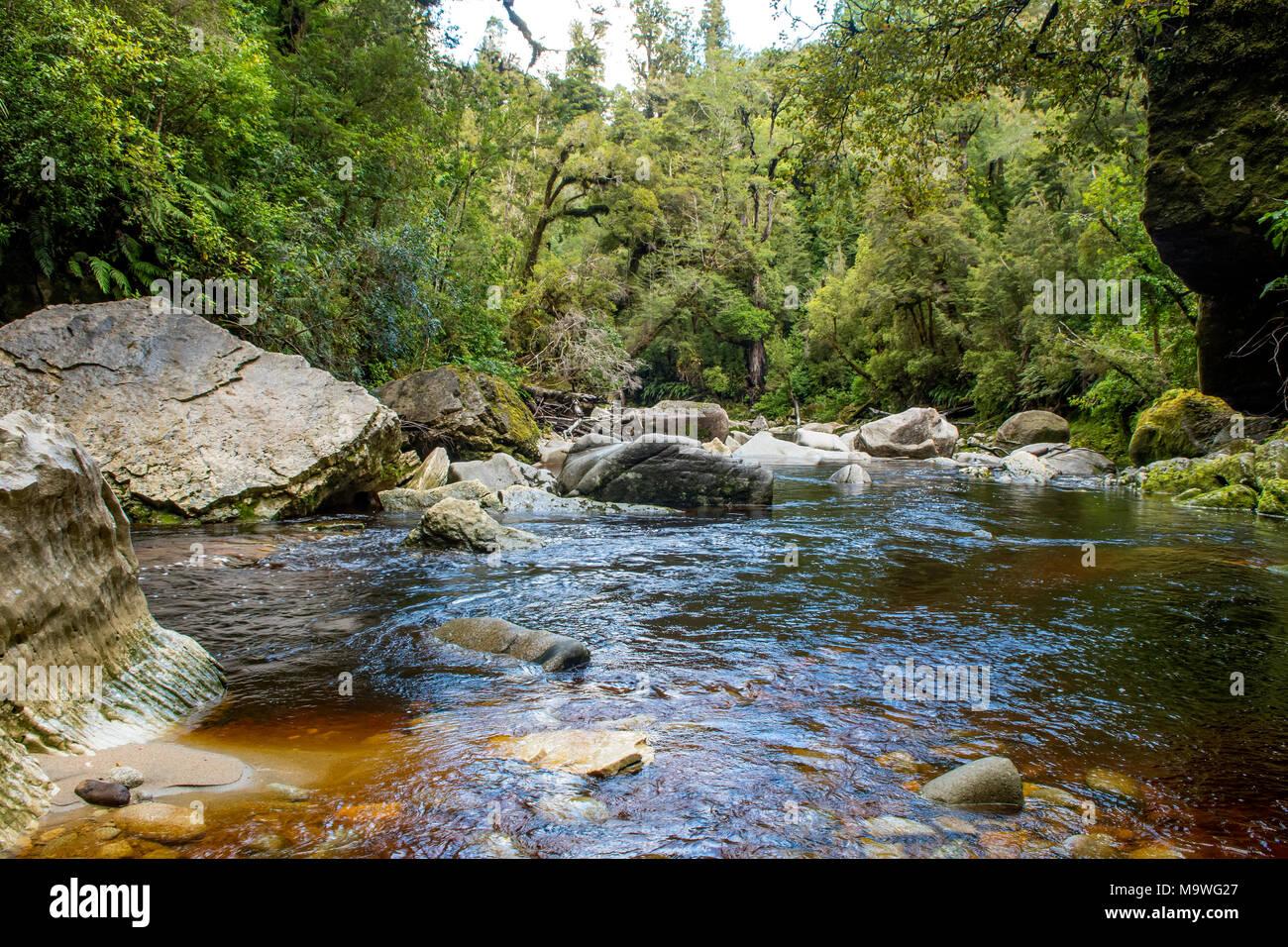Oparara River, Kahurangi National Park, South Island, New Zealand Stock Photo